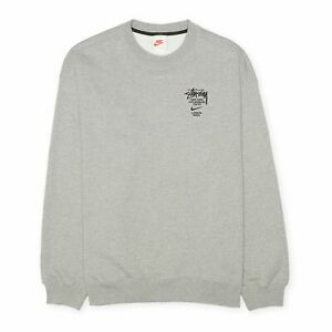 Nike x Stussy International Crewneck Fleece Sweatshirt, Size L, Grey