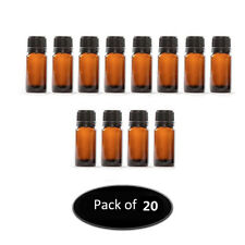 5ml Amber Glass Vial Essential Oil Bottle with Orifice Reducer Cap Bottles 20pcs