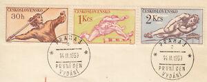 (69642) Czechosolvakia Used x3 Sport Athletics 1959 ON PIECE