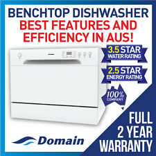 NEW DOMAIN 6 PLACE BENCHTOP COUNTERTOP DISHWASHER WHITE - 2 YEAR WARRANTY