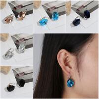 Big Oval Cut Ear Stud Clip Blue Sapphire Topaz Hoop Earrings Crystal Zircon