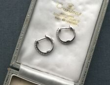 SILVER CZ HOOPS EARRINGS   925 SOLID STERLING