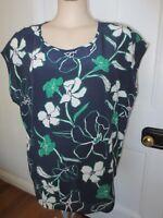 Sportscraft lovely navy floral print silk oversize top size 14 - 16 (US 10 - 12)
