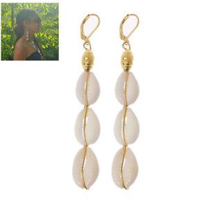 Bohemian Natural Cowrie Shell Pendant Drop Earrings Beach Fashion Jewelry Women