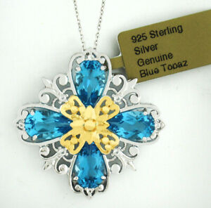 GENUINE 6.18 Cts BLUE TOPAZ & WHITE SAPPHIRE PENDANT  .925 Sterling Silver * NWT