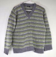 Tangents Women's Medium Wool Sweater Green/Purple/White Striped