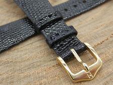 17mm Black Genuine Lizard Hirsch Mens Vintage Watch Band Water Resistant NOS