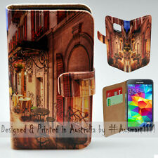 Wallet Phone Case Flip Cover for Samsung Galaxy S5 - Alp Street Night Cafe Print