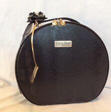 Lancome Paris Hat Box Round Black Cosmetic Organizer Makeup Travel Bag Case-NWOT
