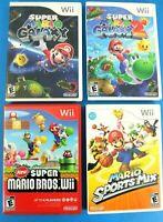 Nintendo Wii Game Lot Super Mario Galaxy 1 & 2, New Super Mario & Sports Mix