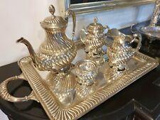 3010g STERLING SILVER COFFEE OR TEA SET 5 PIECES ON ELEGANT TRAY: D.GARCIA HM