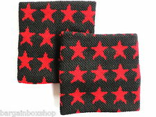 Pair of Nautical Red Star Black Wrist Sweatbands Wristbands Exercise Running Gym