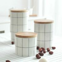 ELEGANT Look Ceramic Storage Jars Tea Coffee Sugar Food Canisters Sealed Jar Lid
