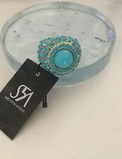 NWT Saks Fifth Avenue Turquoise Crystal Adjustable Goldtone Cocktail Ring