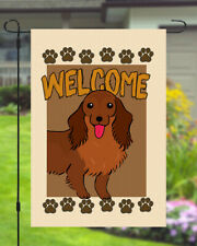Dachshund Welcome Dog Garden Banner Flag 11x14 to 12x18 Pet Yard Decor Paw