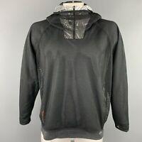 ADIDAS by KOLOR Size XL Black & Silver Mesh Polyester Hooded Sweatshirt