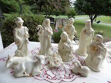 Nativity set 10 piece  Shiny Porcelain gold trim vintage great condition
