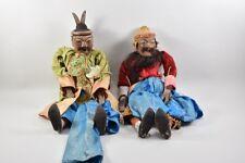a63p16- 2x antike Marionette aus Asien, Massivholz/ Textil/ Rosshaar