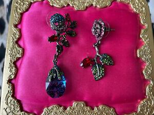Betsey Johnson Garden Of Excess Blue Stone Pewter Skull Rose Mismatch Earrings