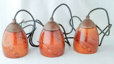 """Pendant Lamps, Stained 6 X 4.5"""" Brown Glass Shades, 58"""" Cord, Set of 3"""