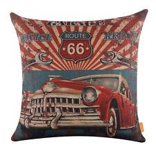 "18"" Red Retro Car Garage Service Repair Decor Route 66 Cushion Cover Pillow Case"