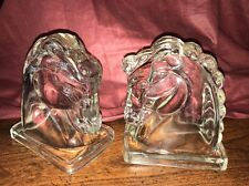 Vintage Pair of Federal Clear Glass Hollow Horse Head Bookends