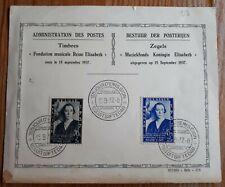 1937 Belgium FDC - Queen Elisabeth Charity - 15/9/1937