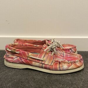Womens Sperry Top-Sider Boat Shoes Pink Checkered Pattern Flats Size 6