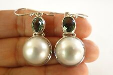 White Mabe Pearl Green Quartz 925 Sterling Silver Dangle Earrings
