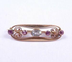 Art Nouveau Garnet Aquamarine Brooch 15 carat gold