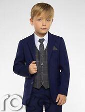 Boys Blue Suit,  Boys Check Waistcoat, Page Boy Suits, Boys Wedding Suits