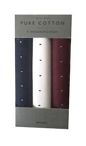Mens John Lewis 3 Pack Cotton Handkerchiefs Burgundy/white Ideal Gift Free P+P