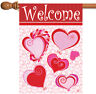 Toland Paper Hearts 28 x 40 Welcome Valentine Red Swirl House Flag
