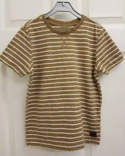 Boys Brown & White Stripe Short Sleeve T-shirt Top. 7-8 Years.