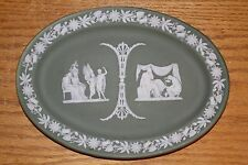 Antique Wedgwood Green Jasper Ware Oval Tray Icarus Daedalus Friendship (c.1903)