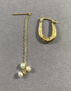 14k Yellow Gold Scrap Jewelry Lot 0.7g Two Single Earrings Fine