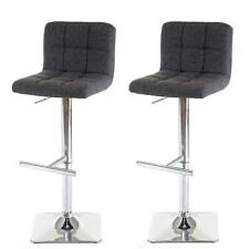 2x tabouret de bar Kavala, chaise ~ tissu gris, pied en acier chromé