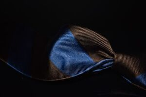 Lanvin Paris Made in Italy Woven Satin Royal Blue Brown Block Stripe Silk Tie NR
