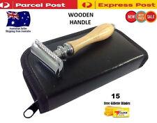 Men Double Edge Safety Razor kit + 15 Free Shaving Razor Blades & Travel Pouch