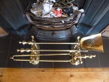 Set of Antique Brass Fire Irons on Stands- Fire Companion,Tongue,Poker, Shovel