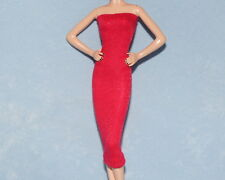 GLISTENING Red & Metallic Gold UNIQUE Snug Fit Party Dress for BARBIE Clothes