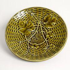 Sarreguemines Majolica gardèrent piédestal DISH FRENCH ANTIQUE c.1880 9.7 in (environ 24.64 cm) (4)