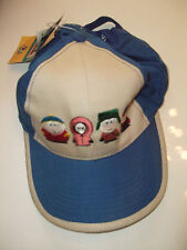 SOUTH PARK WHITE & BLUE BASEBALL CAP with EMBROIDERED CHARACTERS(STAN,KENNY,KYLE