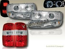 00-06 SABURBAN TAHOE HALO PROJECTOR HEADLIGHTS + BUMPER +RED LED TAIL LIGHTS