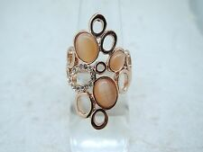 1 piece Cat's Eye Stone Rhinestone Rose Gold Plated Ring Size No. 9 RR01229