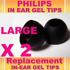 2 Philips EarBud In Ear Gel Tips Large Noise Isolating Earphones Headphones