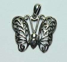 Sterling Silver Butterfly Pendant. Detailed, Real Silver ! Free Ship in USA !