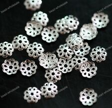 Wholesale 500PCS Silver Gold Plated Metal Flower Bead Caps Findings Making 6mm