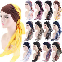 Muslim Chemo Turban Headwear Women Long Hair Head Scarf Headwraps Hijab Bandana