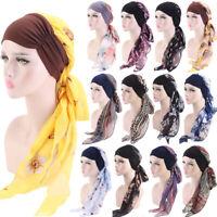 Muslim Chemo Turban Headwear Women Long Hair Head Scarf Headwraps Hijab Bandana